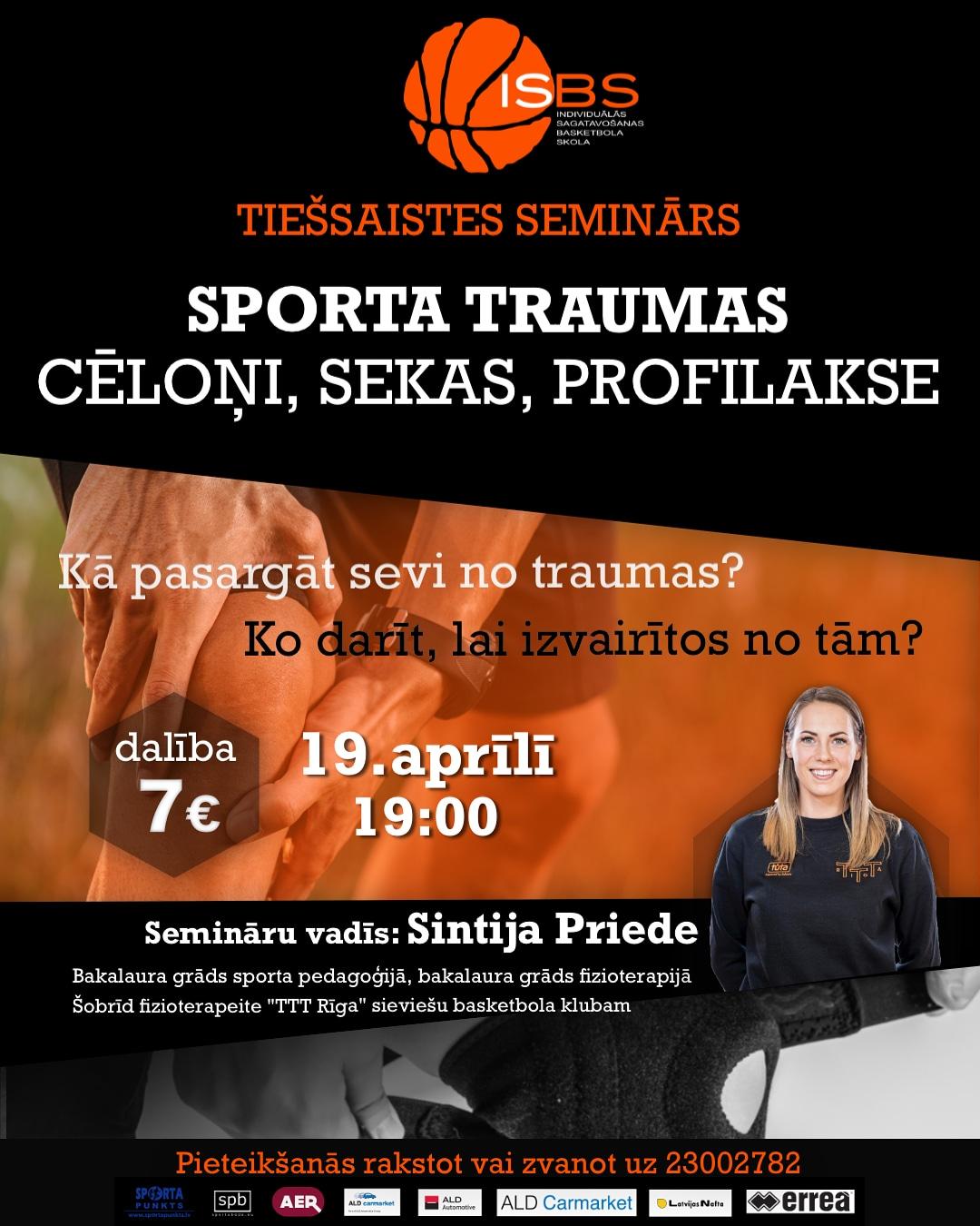 """Tiešsaistes seminārs """"Sporta traumas – cēloņi, sekas, profilakse"""""""